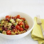 Quinoa, lentil and bean salad with summer vegetables