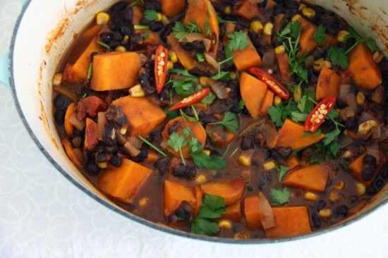 Sweet potato and black bean chilli | a splash of vanilla