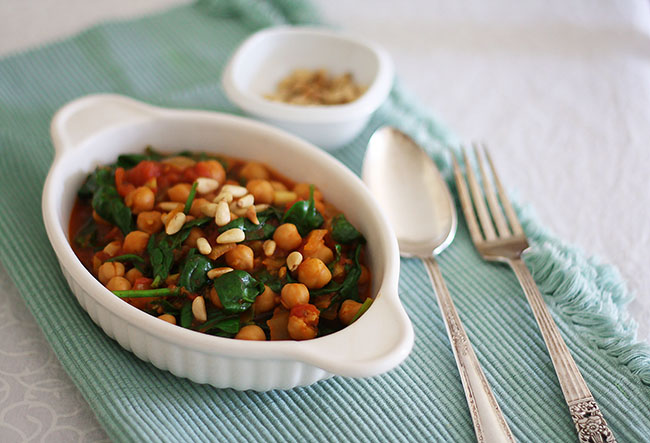 spicy chickpeas, tomatoes and chermoula