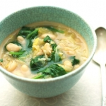 Cannellini bean, leek and baby spinach soup with quinoa