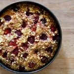 Banana strawberry teacake with walnut crumble topping