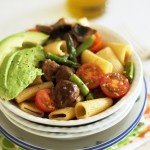 Springtime pasta – rigatoni with cherry tomatoes, asparagus, mushrooms and lemon