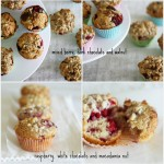 A versatile recipe for chocolate berry muffins with nut crunch topping