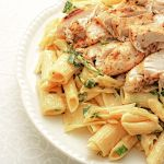 Cajun roasted chicken breast served on rigatoni with cheese and herb sauce