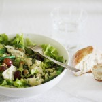 Chicken, green bean and red grape salad with basil mayonnaise