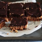 Crispy quinoa puff, peanut and chocolate candy bars