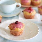 Mixed berry and lemon muffins with berry icing