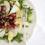 Pear, walnut, grape and rocket salad