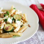 Penne with zucchini, chilli flakes and feta cheese