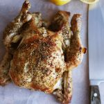 Dutch oven roast chicken with lemon, garlic and herbs