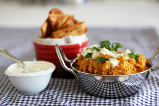 Sweet potato hummus with tzatziki and spicy pita chips | a splash of ...