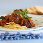 Spaghetti with beef herb meatballs and marinara sauce