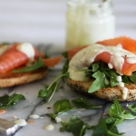 Smoked salmon & herb sandwich with egg free lemon yoghurt aioli