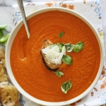 Roast cream of tomato soup with Greek yoghurt