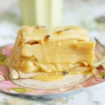 Vanilla bean custard slice with passionfruit icing