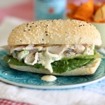 Chicken, walnut and cranberry salad sandwich