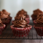 Chocolate cupcakes with chocolate fudge icing