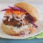 Spicy sweet potato black bean burgers with chilli lime coleslaw