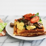 Chilli cheese cornbread waffles and a big breakfast