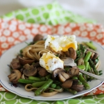 Linguine with miso butter, poached egg and spring vegetables (for one)