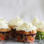 Birthday cake: berry, coconut and white chocolate muffins with lime icing