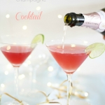Festive cranberry, champagne and vodka cocktail