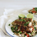 Jamaican style chicken skewers with lime chilli black bean rice