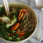 Miso vegetable soup with ginger and chilli