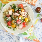 Quinoa, cherry tomato, tuna and feta salad