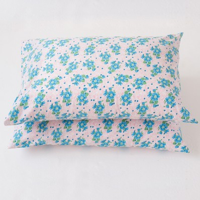 Lazybones Pillowcase Set in Forget Me Not