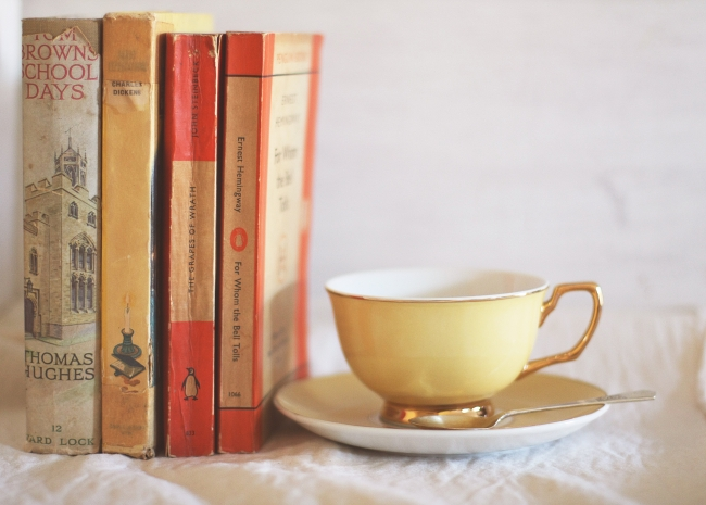 teacup with books