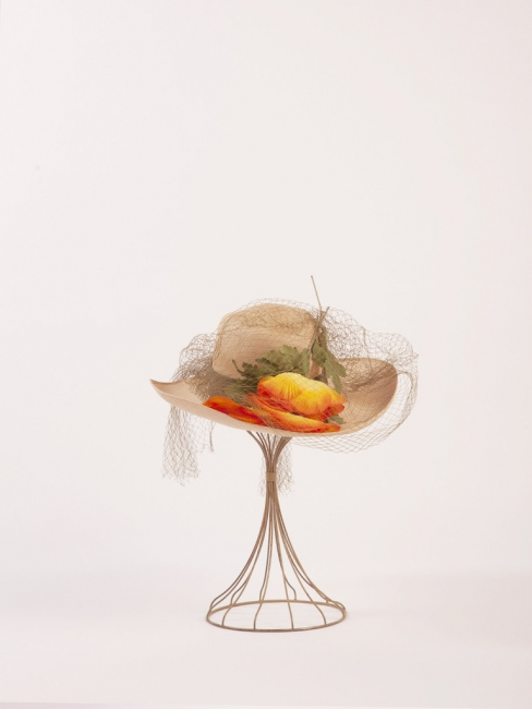 Sisal Hat with Orange Flowers