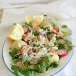 Atlantic salmon, baby potato & watercress salad with creamy lemon dressing