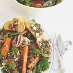 Lentil, feta & roast carrot salad with garlic croutons