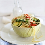 Spring spaghetti with zucchini, cherry tomatoes & peas