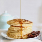 Shrove Tuesday: maple syrup buttermilk pancakes with bacon (Canadian pancakes)