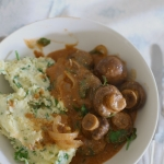 Mushroom stroganoff with sour cream herb mash
