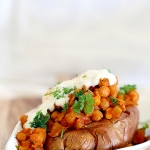 Baked sweet potatoes with spicy lemon chickpeas