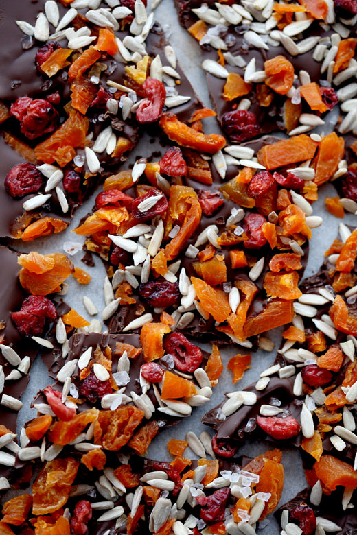 Chocolate bark with dried fruit, sunflower seeds, sea salt & chilli l ...
