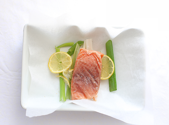 Salmon en Papillote with chilli, lemon, herbs & ginger and miso soba noodles l a splash of vanilla