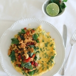 Stir fried chilli basil chicken & cashew omelet