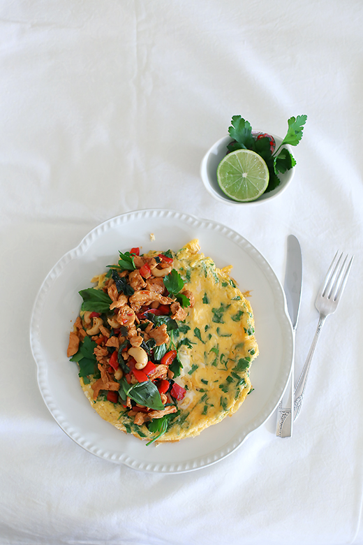 Stir fried chilli basil chicken & cashew omelet l a splash of vanilla