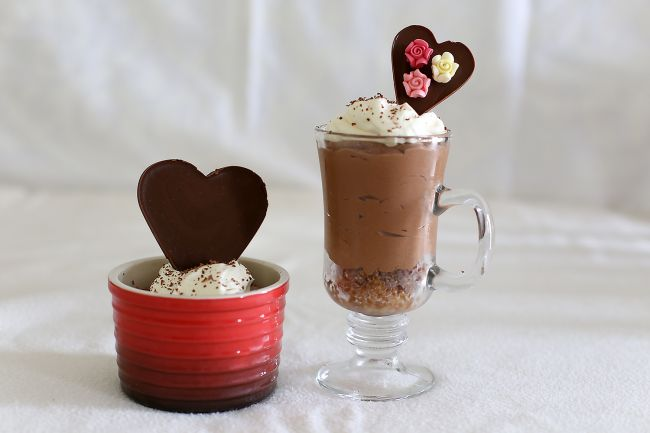 Valentines Day chocolate mousse with heart toppers l a splash of vanilla