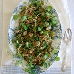 Spicy cold noodle salad with watercress & fava beans (broad beans)