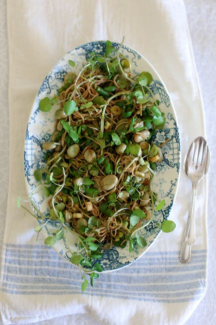 Spicy cold noodle salad with watercress & fava beans (broad beans) l a splash of vanilla
