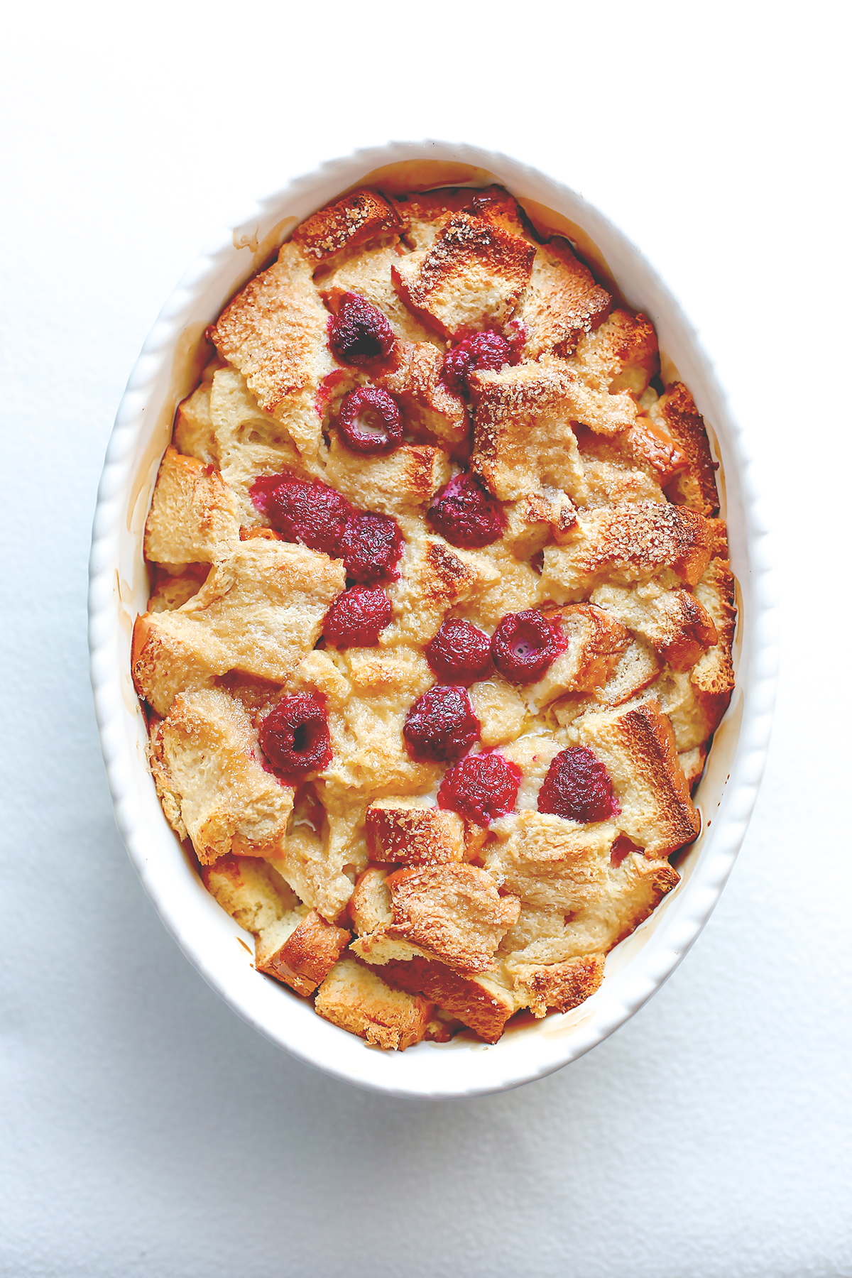 Maple raspberry brioche pudding a splash of vanilla