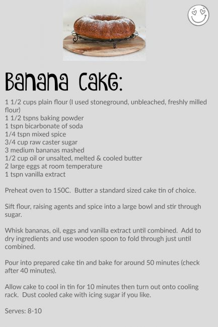 banana cake recipe l a splash of vanilla